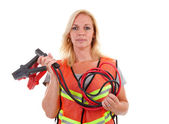 Woman in safety vest — Stock Photo