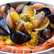 Pan with traditional Spanish paella - Stock Photo
