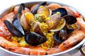 Pan with traditional Spanish paella — Stock Photo