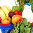 Shopping basket with grocery - Stock Photo