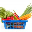 Shopping basket with vegetables — 图库照片