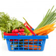 Shopping basket with vegetables — Stock fotografie