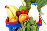 Shopping basket with grocery — Stock Photo