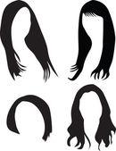 Women hair silhouette vector — Stock Vector