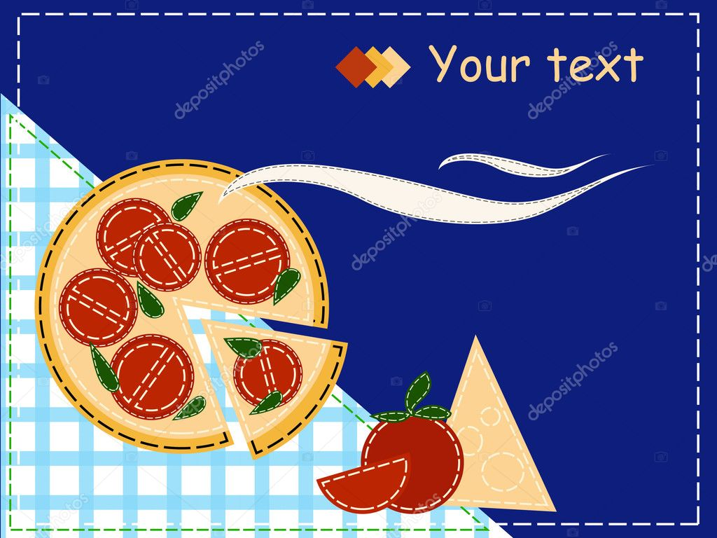 Pizza style patchwork for invitation — Stock Vector #3871553