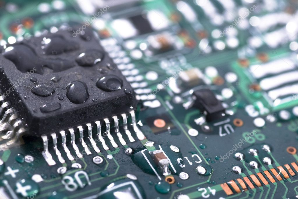 Wet computer printed circuit board — Stock Photo #2892284