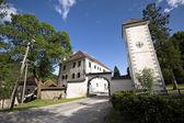 Castelo com torre do relógio perto de ljubljana, — Foto Stock