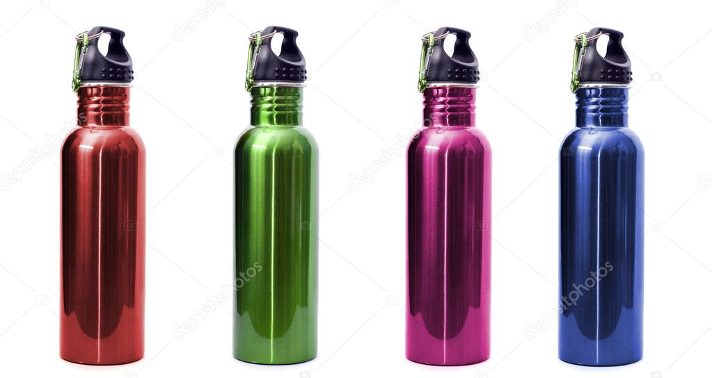 A set of four safe, reusable stainless steel water bottles isolated on white background in red, green, pink, and blue. — Stock Photo #3297071