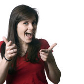 Funny girl pointing — Stock Photo