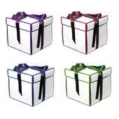 Vier geschenkdozen met bogen — Stockfoto