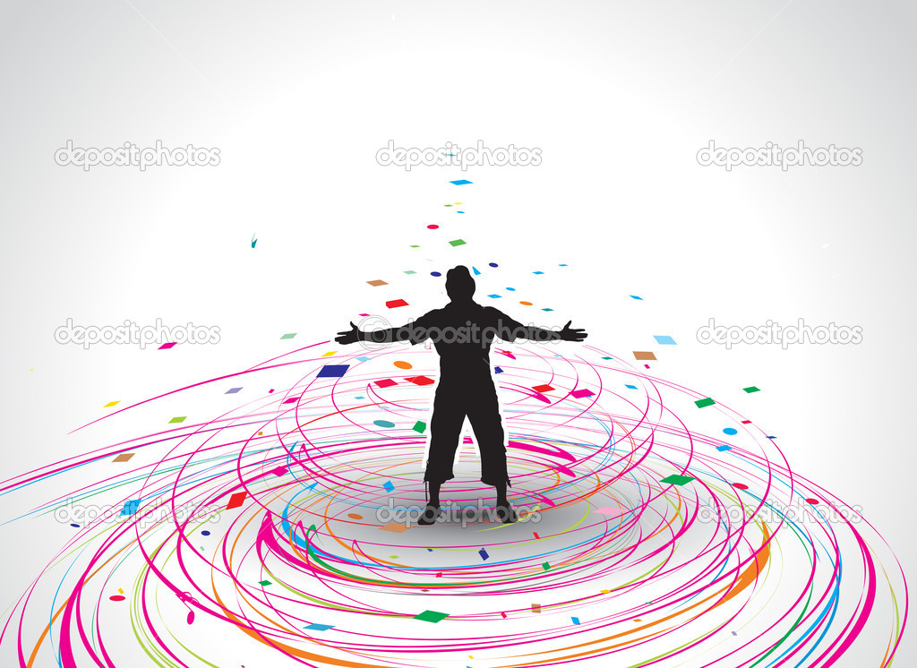 A young man raising his hands vector silhouette in rainbow mosaic wave line , vector illustration — Stock Vector #2757687