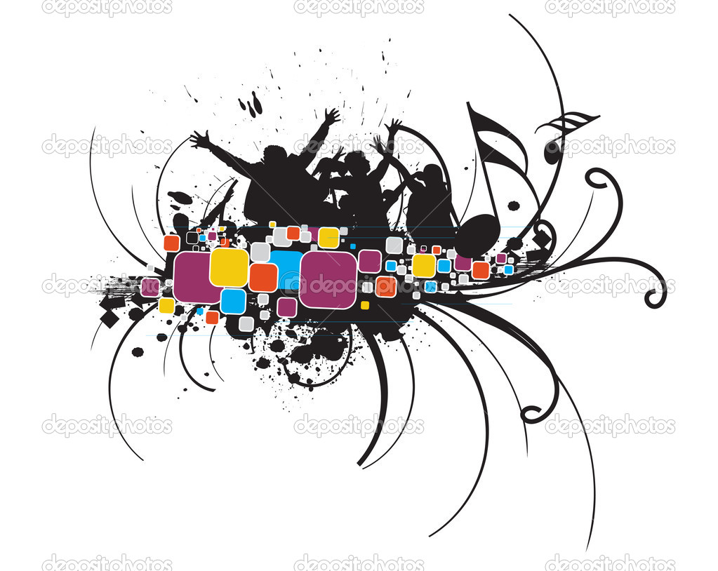 Silhouette of young having fun with grunge wave background, vector illustration — Stock Vector #2934313