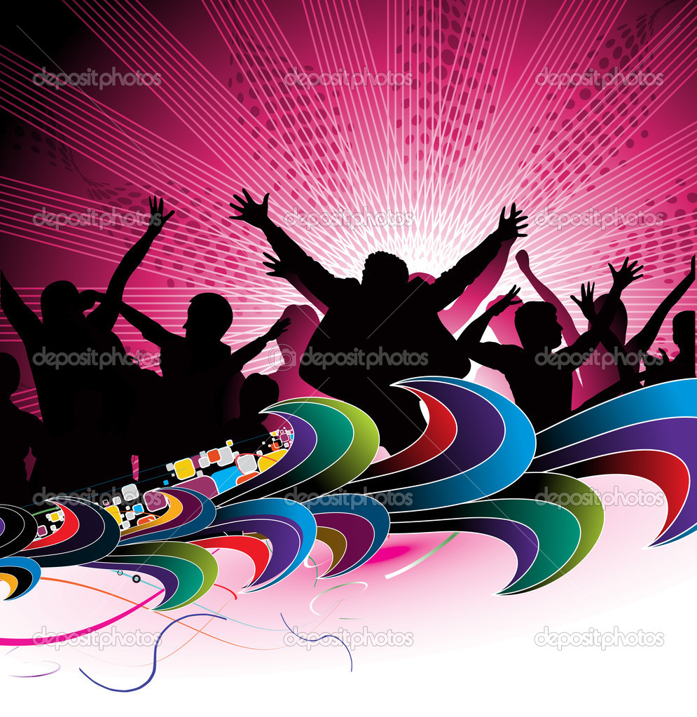 Party concept, silhouttes of group dancing , vector illustartion — Stock Vector #2940542