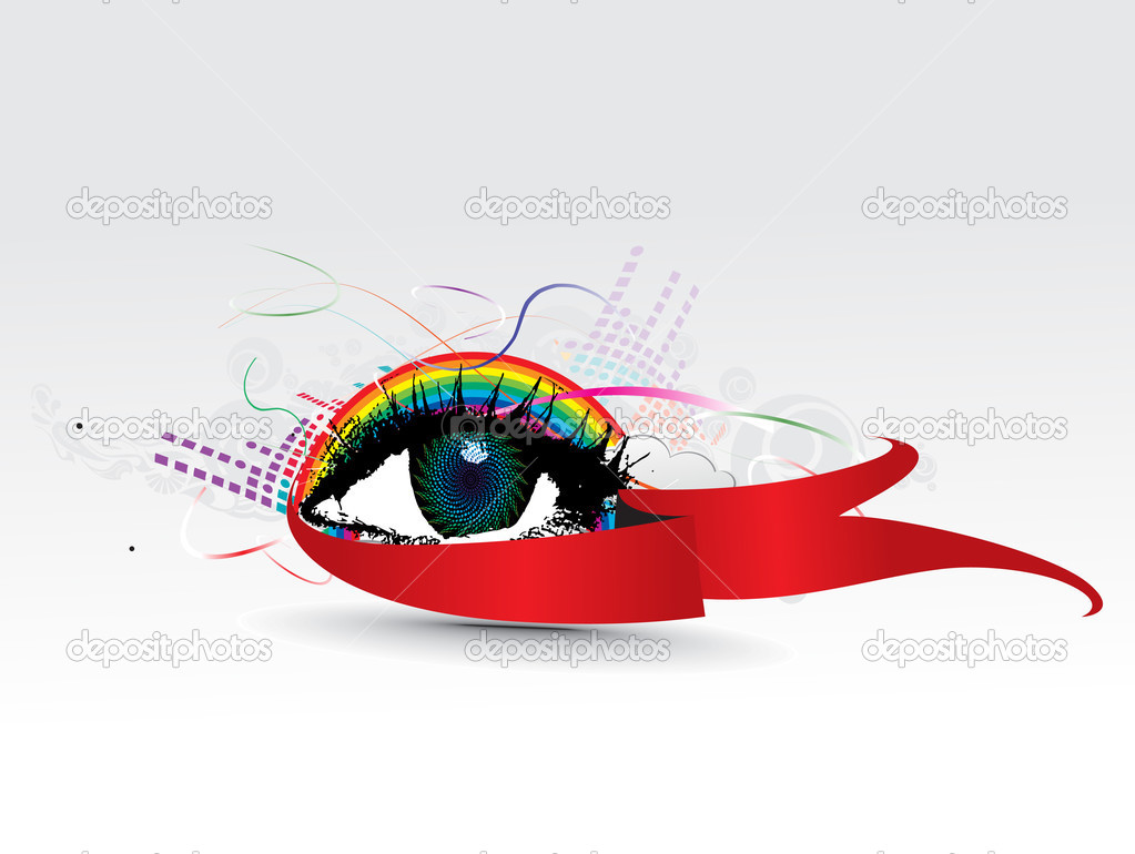 Colorful eye with abstract rainbow wave background, vector illustration — Stock Vector #2940916