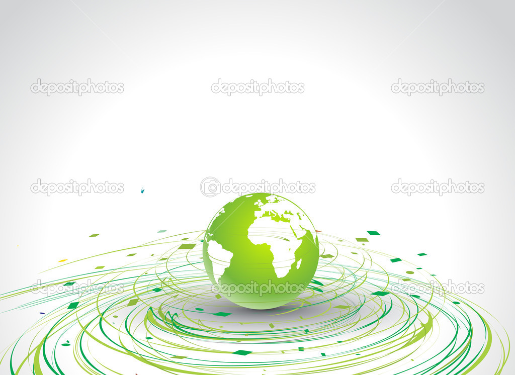 Abstract illustration with circle wave line globe in eco background, vector illustration — Векторная иллюстрация #2991392