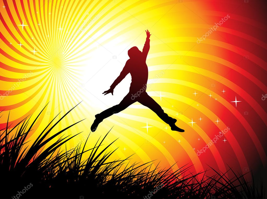 Silhouette of young man jumping on the field, All elements are individual objects and no mesh and no flattened transparencies.  — Stock Vector #3322030