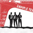 Business silhouettes on the sample text — Stock Vector