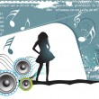 Girl, music background — Stockvectorbeeld