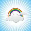 Colorful design with clouds and rainbows - Stock Vector