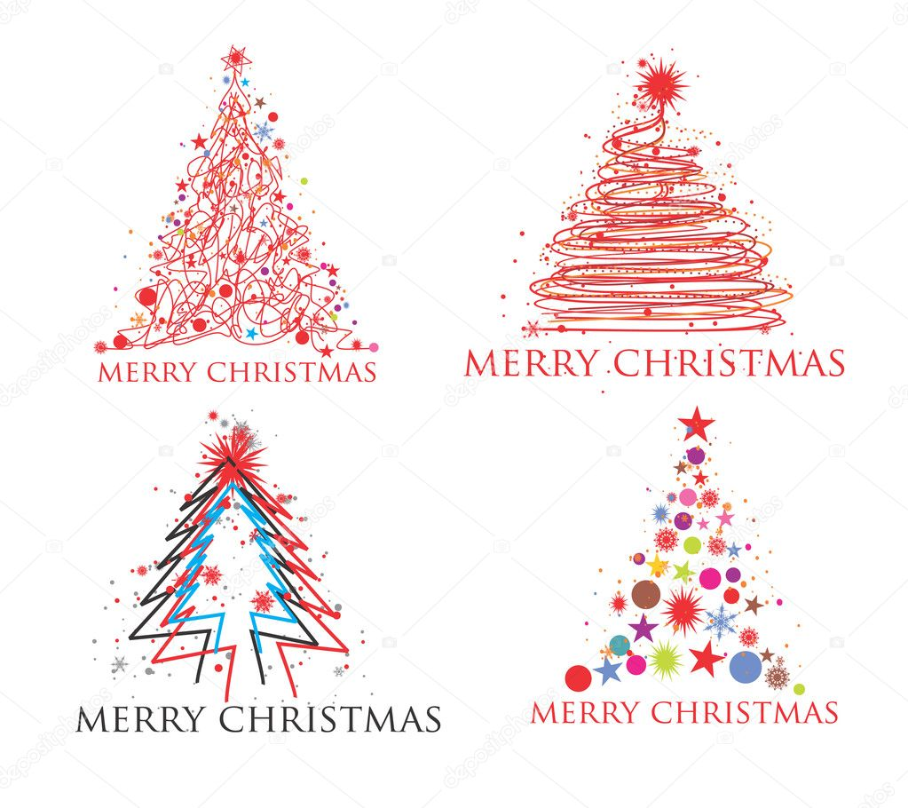 Christmas background set for poster design, vector illustration — Stock Vector #4326664