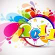 Abstract new year 2011 calendar with colorful design. Vector ill — 图库矢量图片