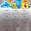 Abstract new year 2011 calendar with colorful design. Vector ill - Stock Vector
