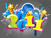 Streszczenie nowy rok 2011 z kolorowy. Ilustracja wektorowa — Wektor stockowy