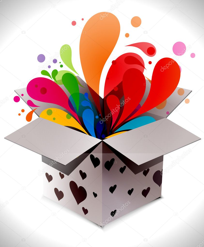 Gift box abstract illustration full of colors,vector illustration — Stock Vector #4401630