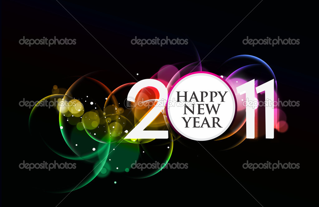 New year 2011 in colorful background design. Vector illustration — Stock Vector #4436968