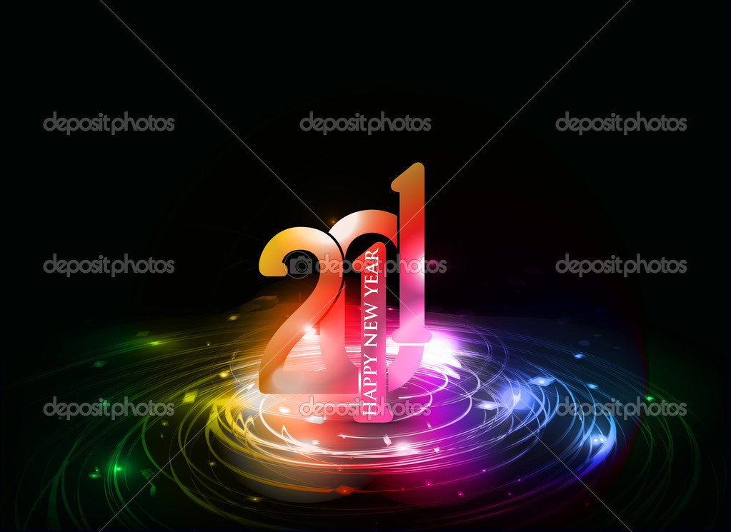 New year 2011 in colorful background design. Vector illustration  Stock Vector #4437002