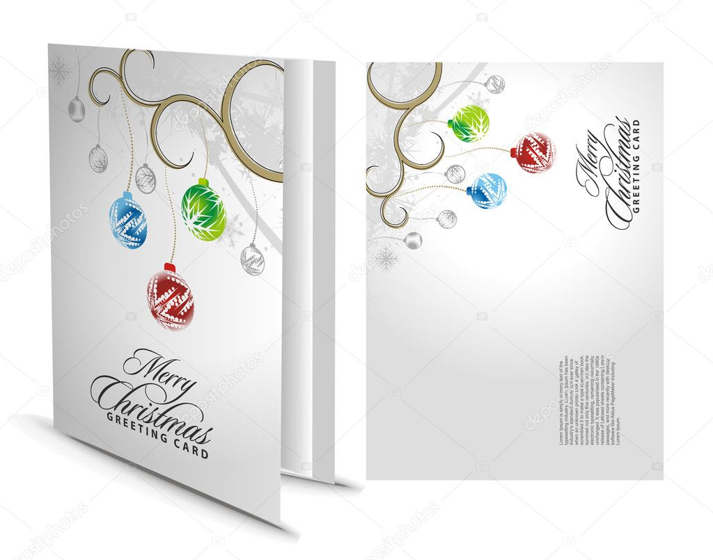 Christmas greeting card with presentation design. — Stock Vector #4437156