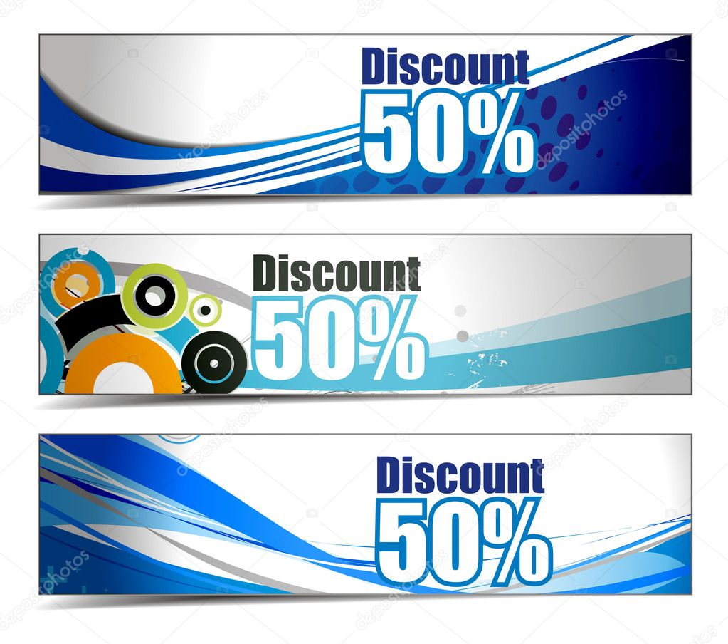 Abstract discount banners on different themes, multi-colored, vector illustration.  — Stock Vector #4471815