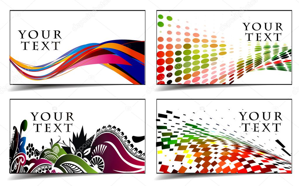 Set of templates for business & gift cards. Elements for design. — Stock Vector #4472085