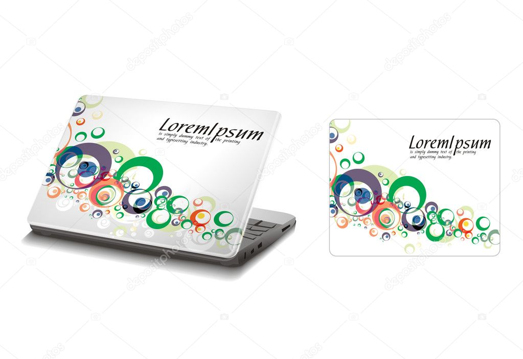 Professional Laptop sticker skins on white with empty space, vector illustation — Vettoriali Stock  #4474089