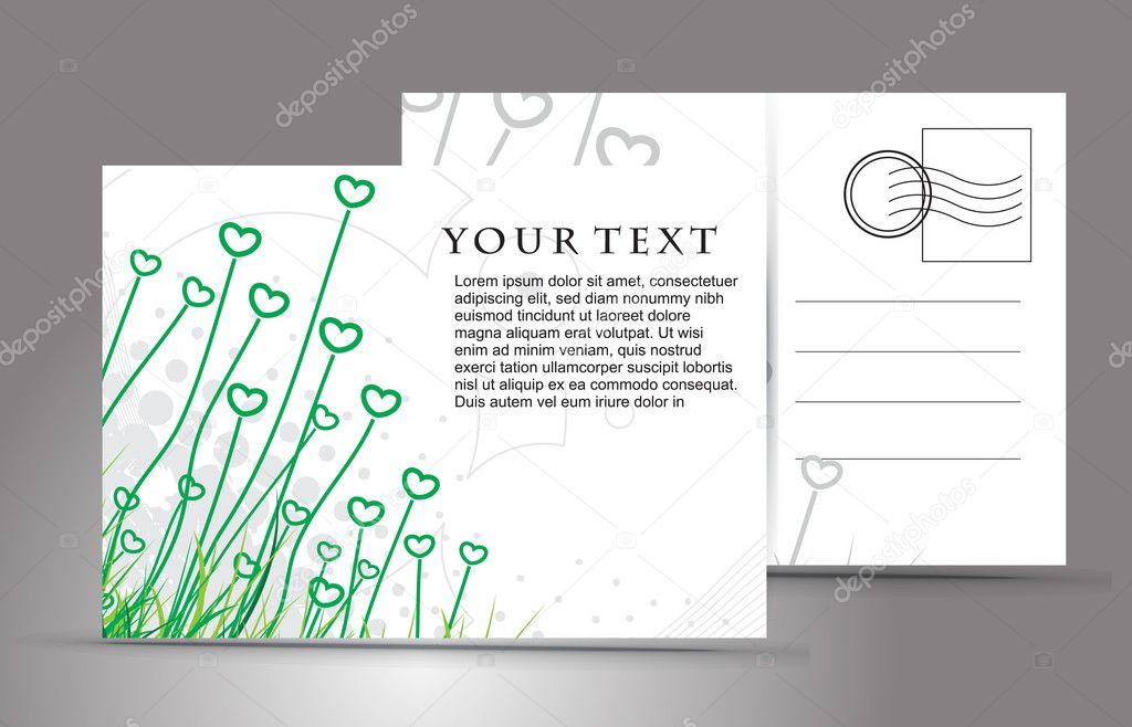 Empty post card, isolated on illustration background, vector illustration  — Stock Vector #4476764