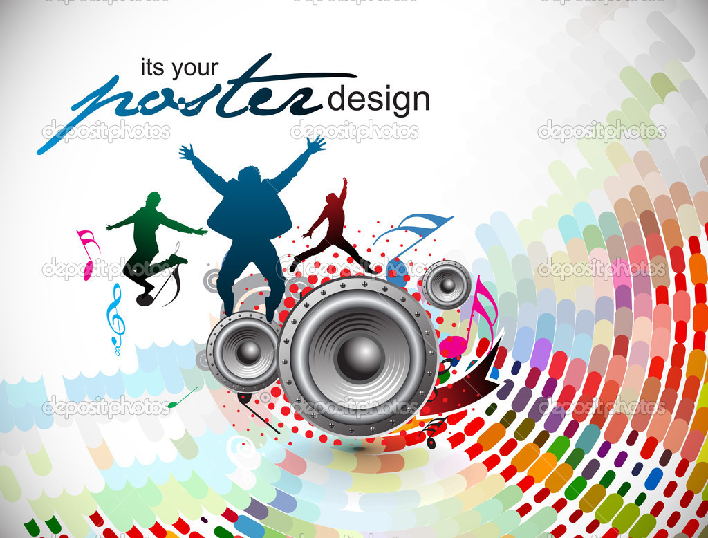 Abstract music background for music event design. vector illustration. — ベクター素材ストック #4481165