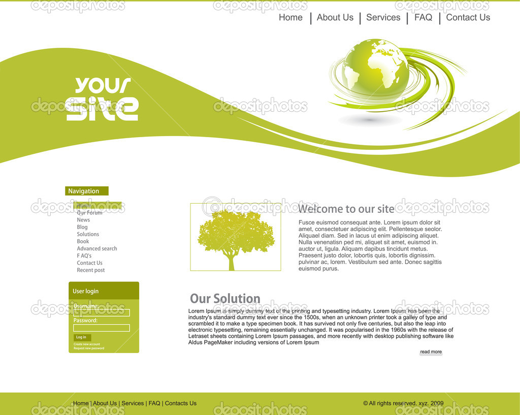 Abstract ecology web site design template, vector illustration. — Imagens vectoriais em stock #4482485