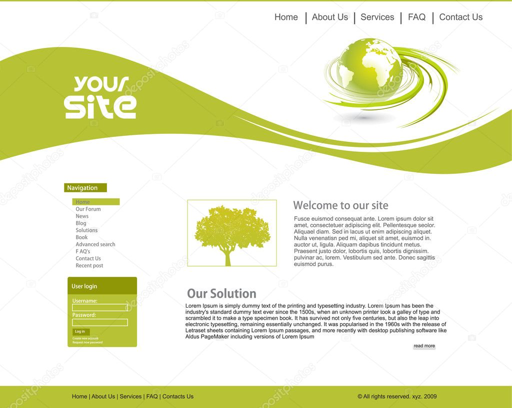 Abstract ecology web site design template, vector illustration. — ベクター素材ストック #4482485