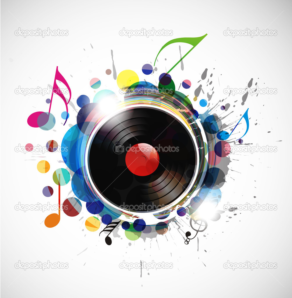 Vinyl record on colorful background, vector illustration. — Векторная иллюстрация #4611422