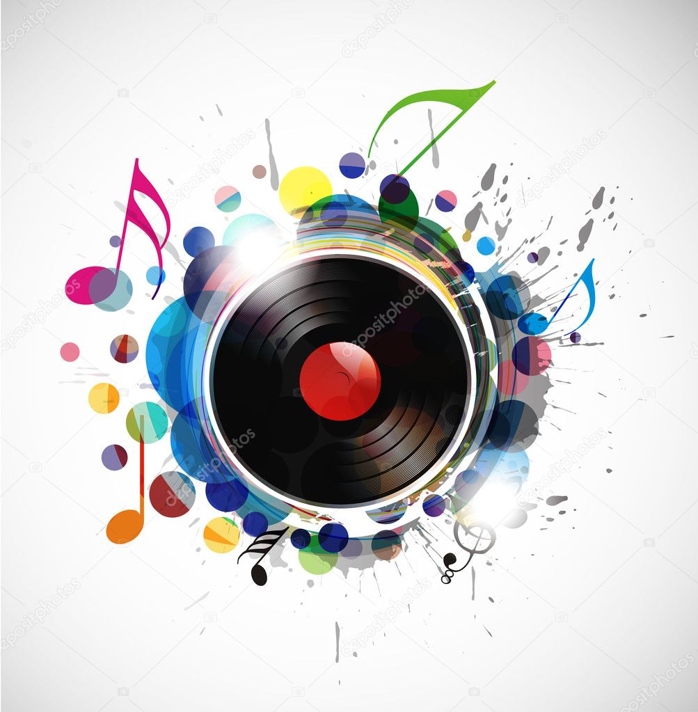 Vinyl record on colorful background, vector illustration. — ベクター素材ストック #4611422