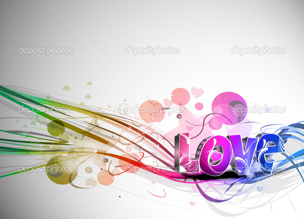 Abstract valentines day colorful 3d love design element background.  Stock Vector #4694499