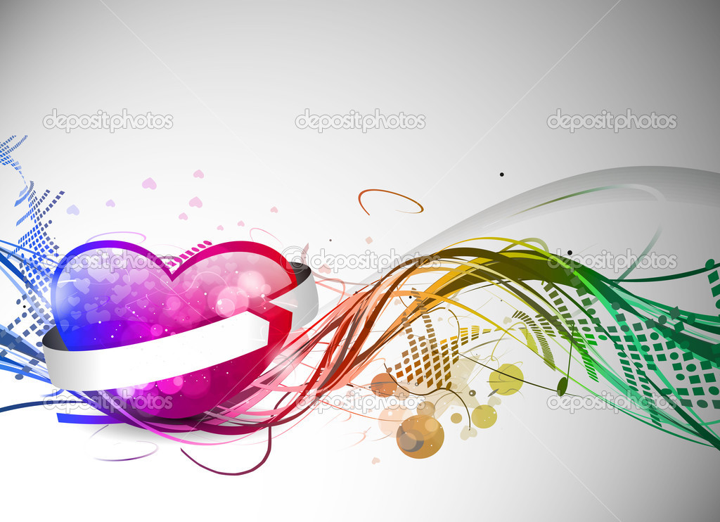 Abstract valentines day colorful heart design element background. — Stock Vector #4694728