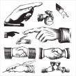 Vector de stock : Antique hands set (vector)