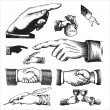 ストックベクタ: Antique hands set (vector)