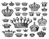 Antique crowns set (vector) — Stock Vector