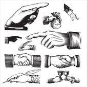 Antique hands set (vector) — Stock Vector