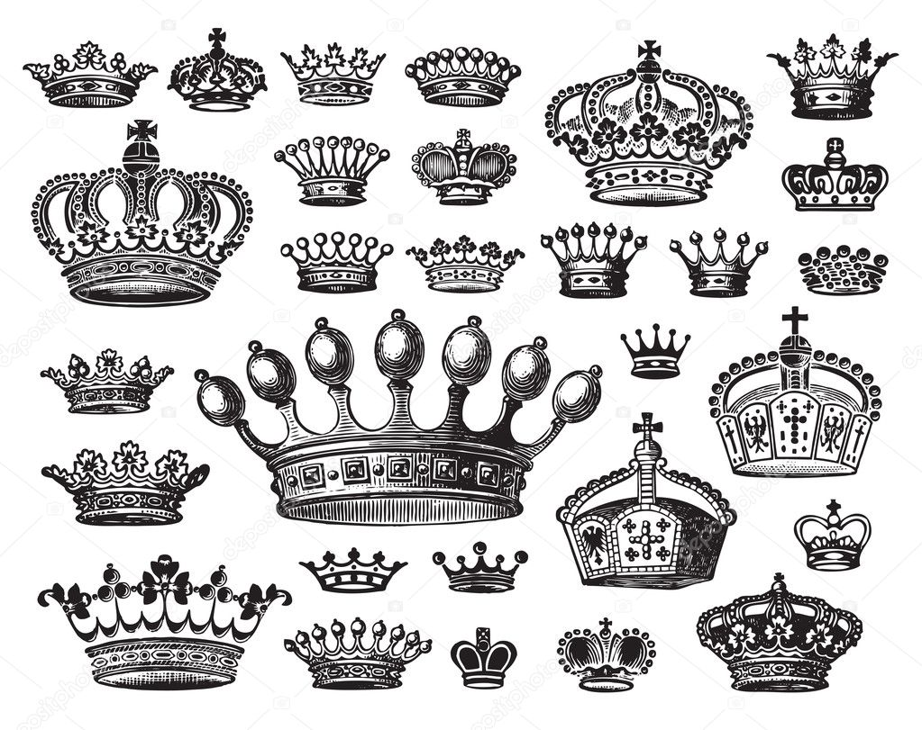 Set of antique crowns engravings, scalable and editable vector illustrations; — Stock Vector #3526017