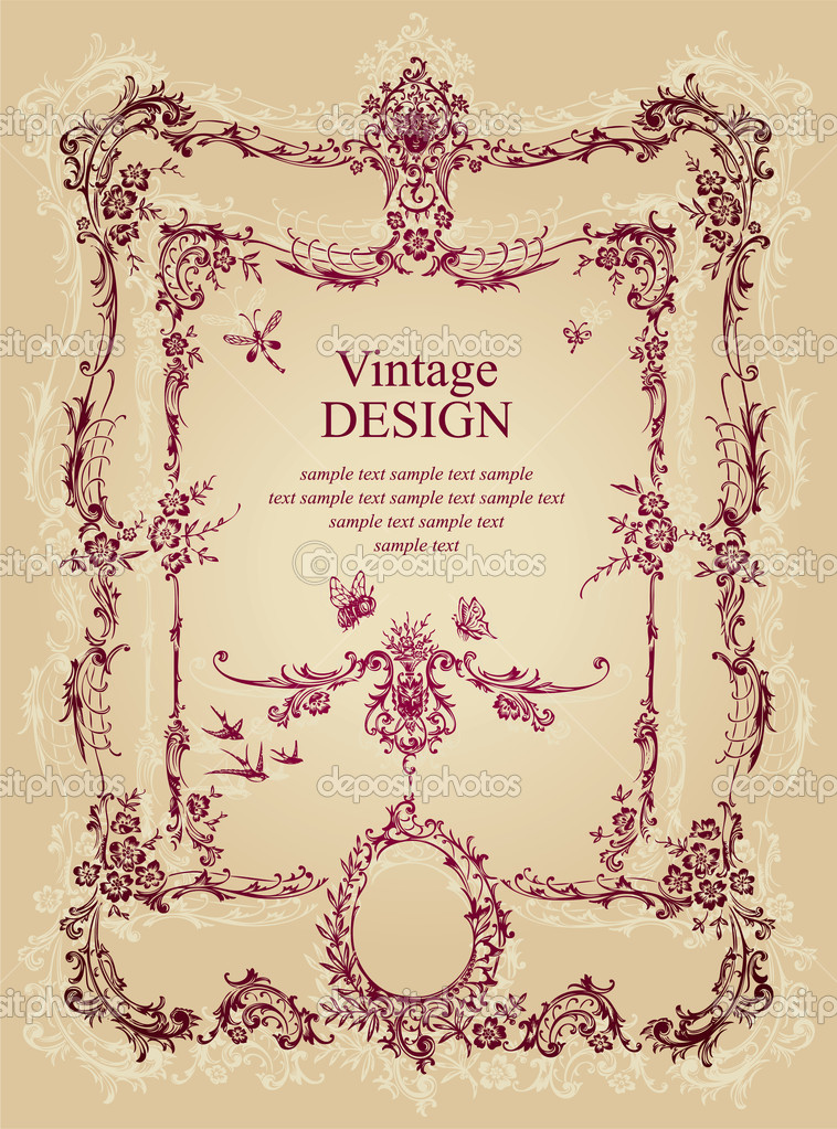 Vintage design with antique frame engraving, scalable and editable vector illustration; — Stock Vector #3526027