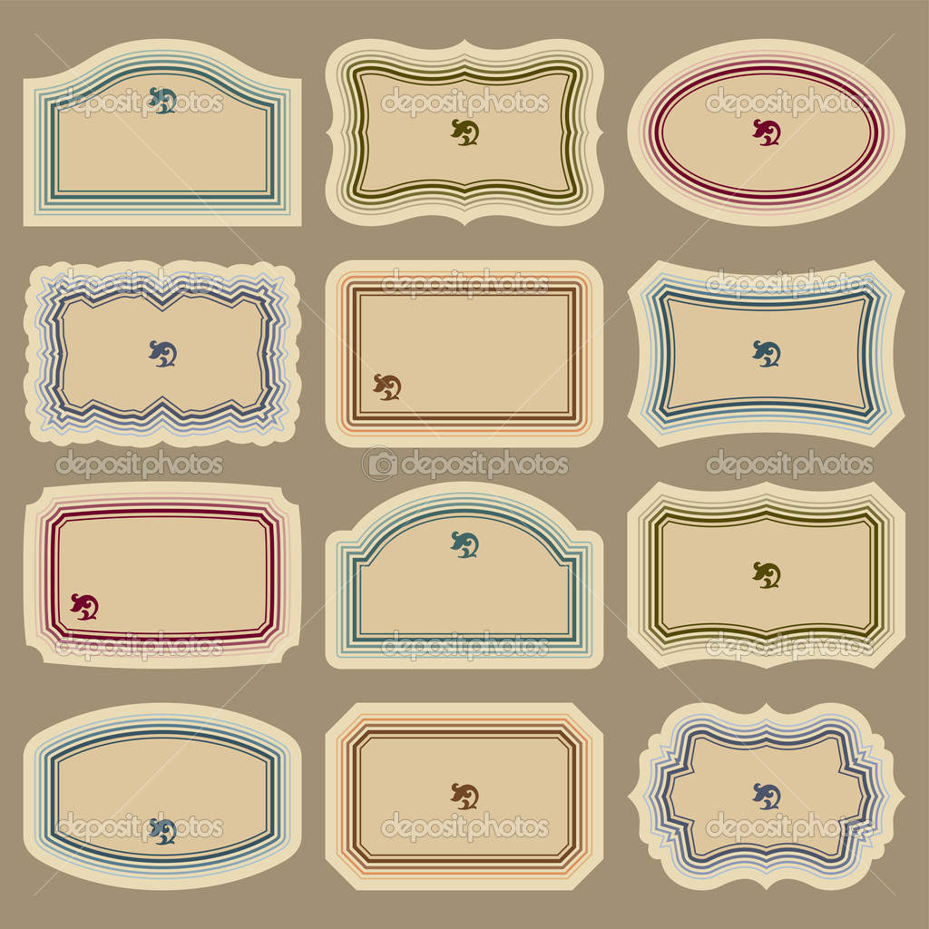 Set of 12 blank vintage labels; scalable and editable vector illustrations; — Stock Vector #3526036