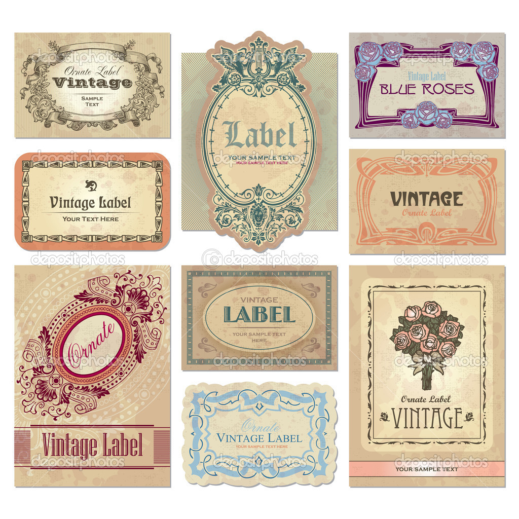 Set of vintage labels, scalable and editable vector illustrations; — ベクター素材ストック #3526052